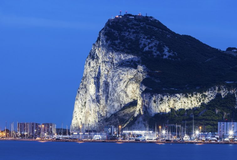 Panorama of Gibraltar seen from La Linea de la Concepcion