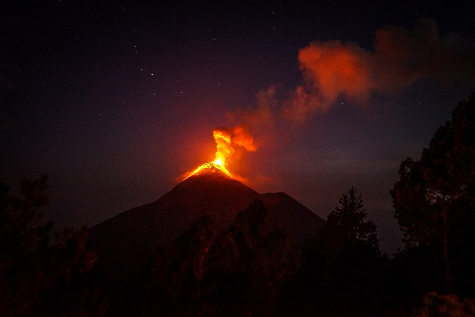lava coming out from mountain